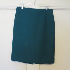 J. Crew Green Wool Pencil Skirt